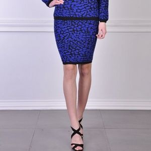 Rebecca Minkoff Leopard Jacquard Knit Pencil Skirt